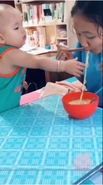 Babies eating food